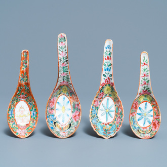 Four Chinese Bencharong spoons for the Thai market, 19th C.