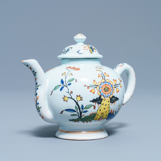 A polychrome French faience teapot and cover, Sinceny, 18th C.