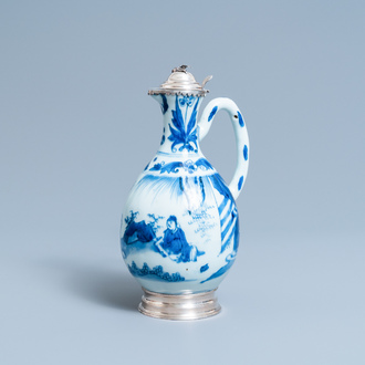 A Chinese blue and white ewer with Dutch silver mounts, Transitional period