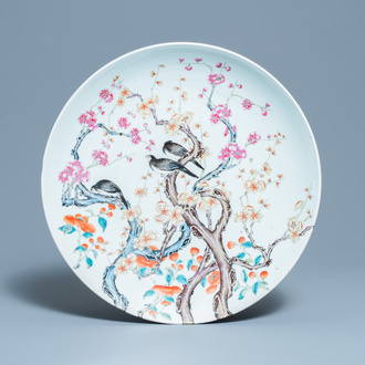 A large Chinese famille rose 'prunus and magpie' dish, Qianlong mark, 19th C.
