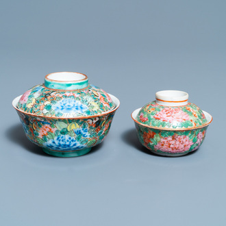 Two Chinese Thai market Bencharong bowls and covers, 19th C.