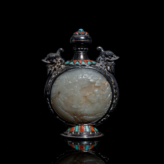 A Chinese jade-, coral- and turquoise-inlaid silver snuff bottle, 19th C.