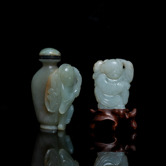 A Chinese jade snuff bottle and a figure of a boy, Qing