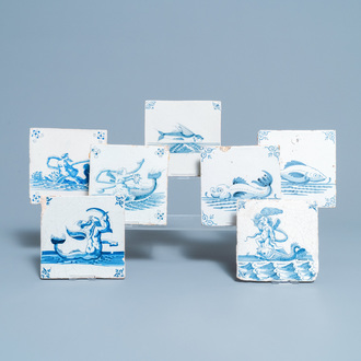 Seven Dutch Delft blue and white tiles with seacreatures, 17th C.