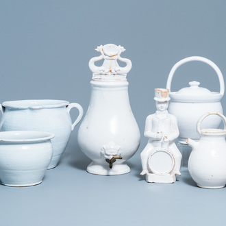 Six large pieces of white Delftware, 18/19th C.