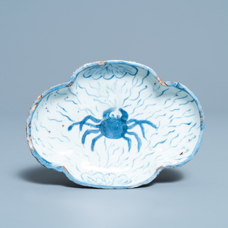A Chinese blue and white ko-sometsuke 'crab' dish for the Japanese market, Tianqi