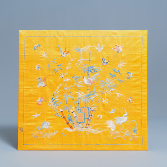 A Chinese yellow-ground silk embroidery, 19th C.