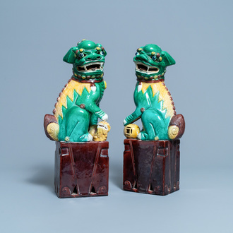 A pair of tall Chinese sancai-glazed biscuit models of Buddhist lions, 19/20th C.