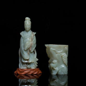 A Chinese jade brush pot and a figure of Guanyin, Qing