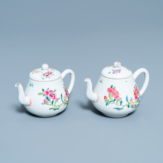 A pair of Chinese famille rose teapots and covers, Yongzheng