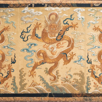 A Chinese gold-thread embroidered silk 'dragon' panel, 19th C.