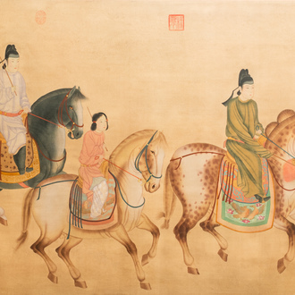 Chinese school, ink and colour on silk, 19/20th C.: 'Three horseriders'