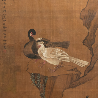 Chinese school, ink and colour on silk, 18/19th C.: 'Four birds on rockwork'