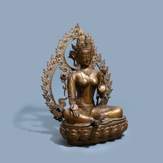 An exceptionally large bronze figure of the White Tara, Nepal, 19th C.