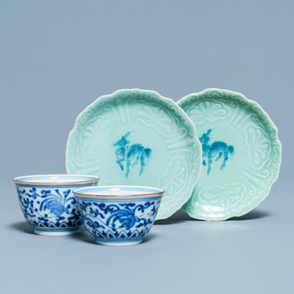 A pair of Japanese blue and white Arita bowls and a pair of celadon 'deer' dishes, Edo, 18/19th C.