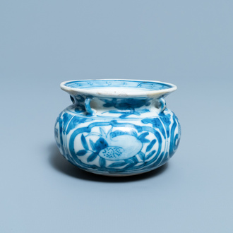 A small Chinese blue and white 'Taoist symbols' censer, Ming