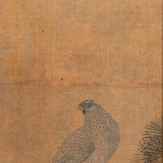 Chinese school, ink and colours on silk, 17/18th C.: 'A hunting falcon'