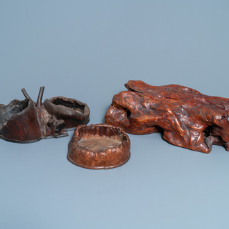 Three Chinese or Japanese rootwood stands, 19th C.