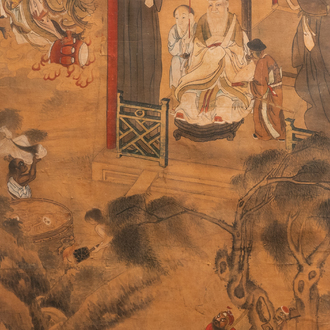 Chinese school, ink and colour on paper, 19th C.: 'The king of hell'