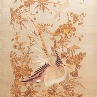 A Chinese gold-thread embroidered silk panel, 19th C.