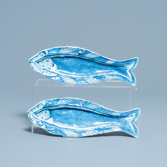 A pair of Dutch Delft blue and white 'herring' dishes, 18th C.
