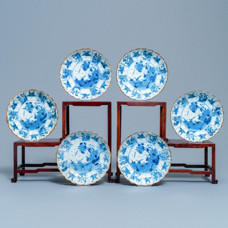 Six Chinese blue and white lobed plates with ducks and butterflies, Kangxi