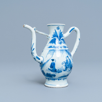 A Chinese blue and white ewer with figures in a landscape, Transitional period