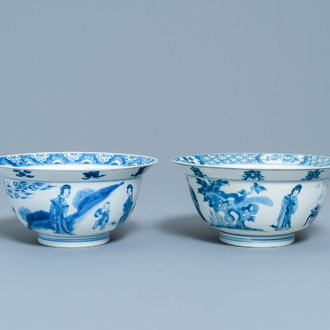 Two Chinese blue and white bowls, Kangxi