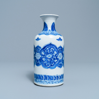 A Chinese blue and white rouleau vase, Kangxi