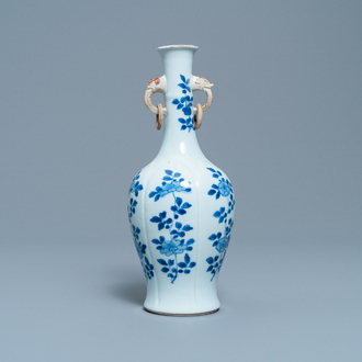 A Chinese blue and white vase with elephant-head handles, Kangxi