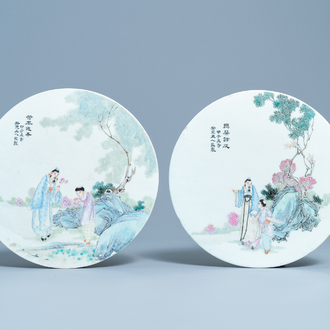 Two round Chinese famille rose plaques, Republic