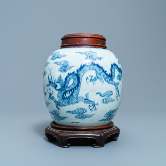 A Chinese blue and white 'dragon and phoenix' ginger jar, Yongzheng