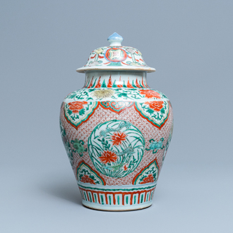 A Chinese wucai vase and cover, Transitional period