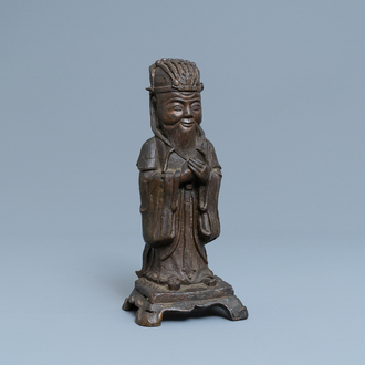 A Chinese bronze figure of Wenchang Wang with inscription, Qing