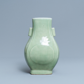 A Chinese celadon-glazed 'fanghu' vase, Qianlong mark and of the period