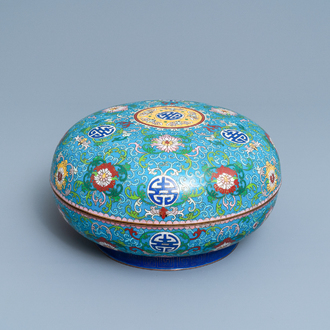 A round Chinese cloisonné box and cover, 19th C.