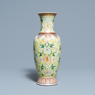 A Chinese famille rose lime green-ground vase, Qianlong mark, Republic