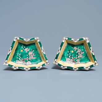 A pair of Chinese verte biscuit sweetmeat dishes, Kangxi