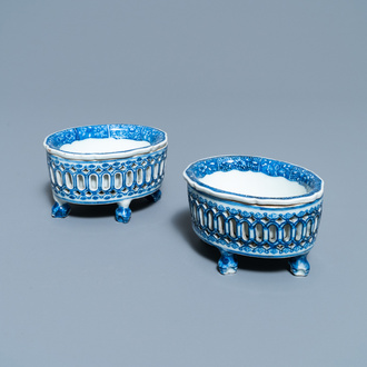A pair of Chinese blue and white salts after European silver examples, Qianlong