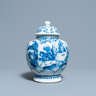 A Chinese blue and white 'horseriders' vase and cover, Kangxi