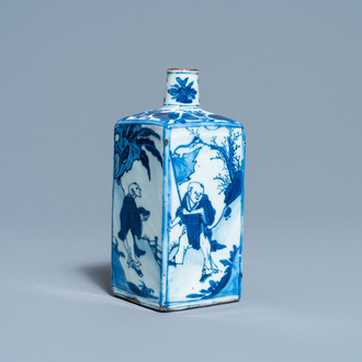 A Chinese square blue and white flask, Wanli
