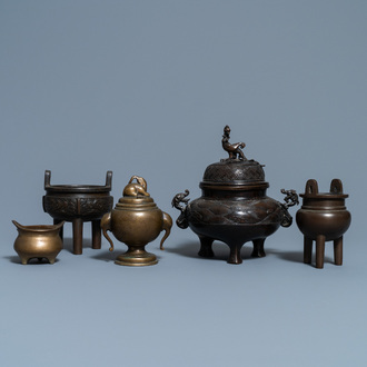 Five Chinese bronze censers, Qing
