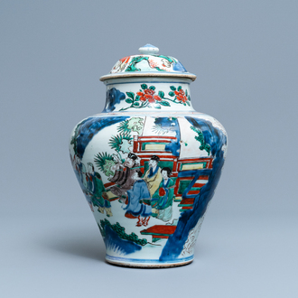 A Chinese wucai 'immortals' vase and cover, Shunzhi