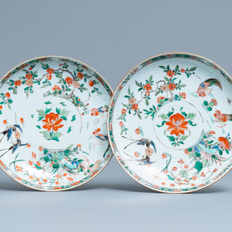A pair of Chinese famille verte dishes, Kangxi