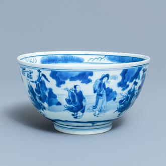 A Chinese blue and white 'immortals' bowl, Kangxi