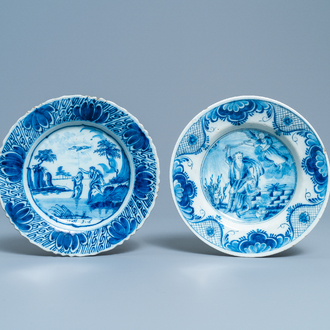 Two Dutch Delft blue and white plates with biblical scenes, 18th C.