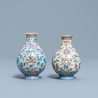 Two Chinese famille rose miniature vases, Qianlong mark, Republic