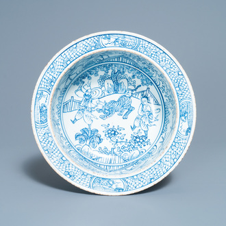 A Chinese blue and white 'tiger' basin, Jiaqing