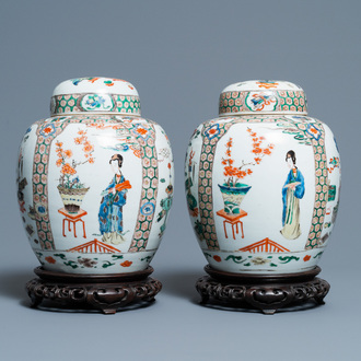A pair of Chinese famille verte jars and covers, Kangxi