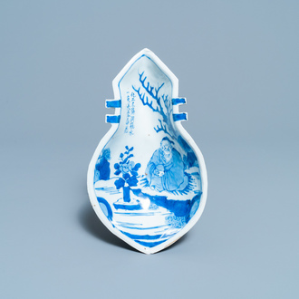 A Chinese lute-shaped blue and white ko-sometsuke bowl for the Japanese market, Tianqi